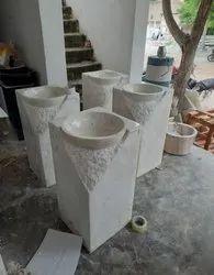 Makrana White Marble Pedestal Wash Basin, For Hotel