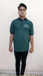 Plain Polo Neck Mens Green Cotton T Shirt