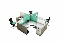 Wood Aluminium 4 Seater Panta Workstation 45 Mm Thickness, For Office