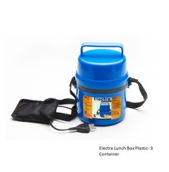 Blue Electra Lunch Box Plastic/Steel (3 Container), For Office, 3 SS containers