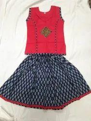 Red Girl Kutchi Readymade Dress For Children