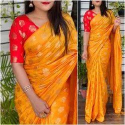 Festive Wear Printed Jacquard Silk Saree, 6.3 m (with blouse piece)