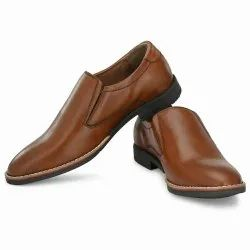Pu Men Brown Leather Formal Shoes