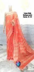 Casual Wear Linen slub batique print saree, With Blouse Piece, 5.5 m (separate blouse piece)