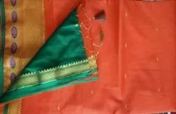 Party Wear Border Cotton sarees, 6 m (with blouse piece)