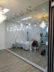 White Wall Decoration Diamond Glass, For Home, Thickness: 5mm