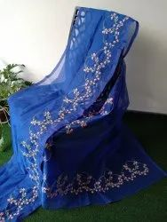 Party Wear Border Super Net Embroidered Saree, Without Blouse Piece, 5.5 m (separate blouse piece)