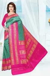 Zari Border Green And Pink Jacquard Fancy Saree, 6.2m ( With Blouse Piece )