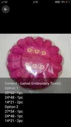 Velvet emb Mix Gift towels, 250-350 GSM, Size: 3060 1pes 2448 1pes 1421 2 Pes