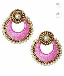 Pink Thread Earings, Shape: Round