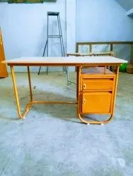 Teak Wood Colour Steel Table, For Office, Size: 4*2