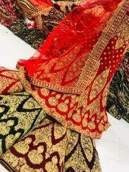 Red Cotton Ladies Georgette Kurtis Material, Size: Custom