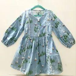Cotton Regular Wear Girls Semi Winter Frock, Size: 2-14 Years