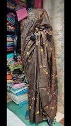 Katan Silk Embroidery Work Sarees