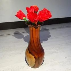 Brown Wooden Flower Pot, For Home,Hotel