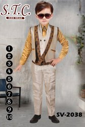 Satin,Polyester Boys Stylish Waistcoat Suit