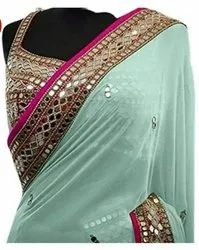 Printed Dhani & light green Designer Saree, With blouse piece, 5.5 m (separate blouse piece)