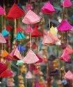 Event Decoration Colorful Fabric Hanging Cone Shape