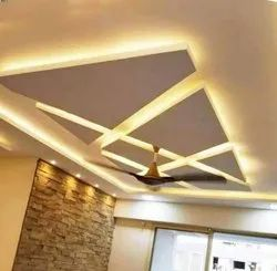 Plaster of Paris Ceiling Living Room Interior Flush siling design, Work Provided: False Ceiling/POP