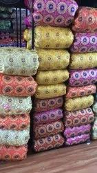 Satin 44 inch Gold coin embroidery sudarshan chakar fabric, For Garments, GSM: 100-150