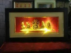 Wooden Golden Led Photo Frame Ganesha, For Decoration, Size: 16