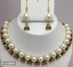 White PastElegant Designer Kundan Pearl Necklace Set