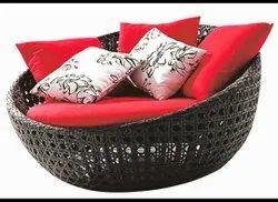 Brown Mild Steel Outdoor Wicker Couch, Garden