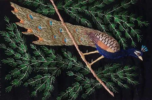 Velvet Handmade Zardosi work painting, Size: 17x25 Inch