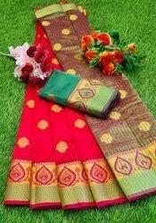 Silk Cotton Saree With Zari Work