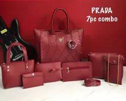 Polyurethane Plain Prada Handbags, Size: H-10 Inch W-12 Inch