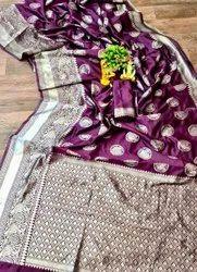 Silver Zari Soft Silk Banarasi Saree