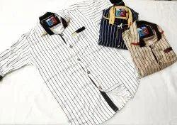 Full Length Cotton Kids Casual Shirts