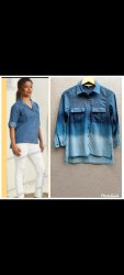 Three Fourth Sleeves Cotton Fancy Ladies Denim Shirt