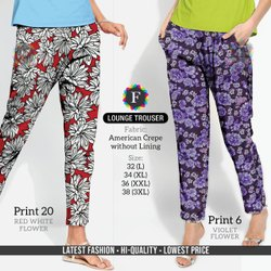 F America Crape Lounge Trouser, Size: 30