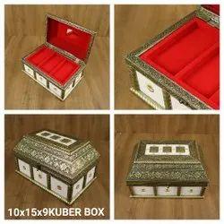 Rectangle White Kuber Wooden Box Gifting Jewellery
