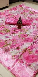 Ligalz present linen saree with sattin patta with blouse