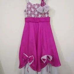 Pink Plain Kids Girls Party Frock, Size: 2-14 Years