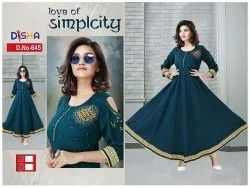 Anarkali Black Fancy Rayon Kurti, Size: XL