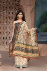 Chanderi Silk Batik Print 3 pcs Suit Materials