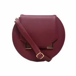 Magenta Pu Leather Latest Chestnut Round Sling Bags, Size: 10 X 9 X 1.5 Inches
