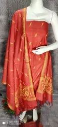 Katan Silk Dress Material With Kalamkari Print Dupattas
