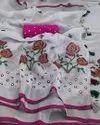 Linen Mirror & Thread Embroidery Work Sarees