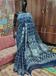 Cotton Linen Slub Saree With Bp