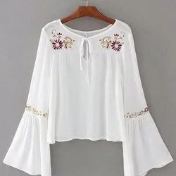 Rayon Women's Embroidered White Rayon Top