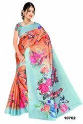 Ligalz linen jute digital printed sarees