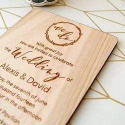Wooden Wedding Cards