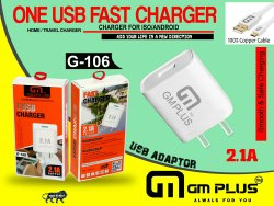 White Ampere: 2.1 A GM Plus G-106 USB Travel Charger