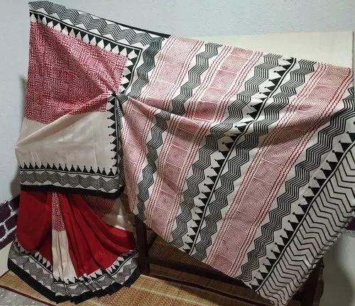 Pure Tussar Silk Block Printed Saree