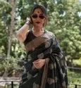 Pure Tussar Silk Embroidery Work Sarees