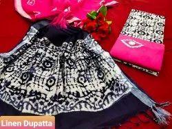 Batik Print Linen Dupatta Cotton Salwar Suit Set